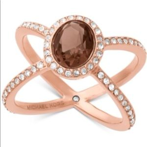 Authentic Michael Kors Rose Gold Ring Sz8 NWT